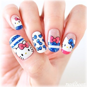 how to do hello kitty nails