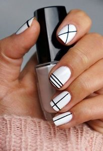 black white short nails