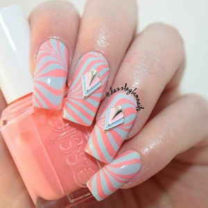 coral marble nails