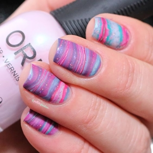 purple pink blue marble nails