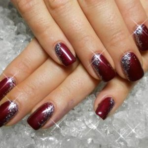 reverse christmas french manicure