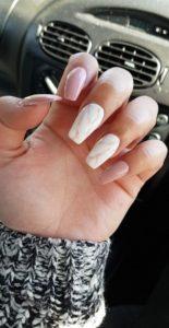 pink white acrylic nails