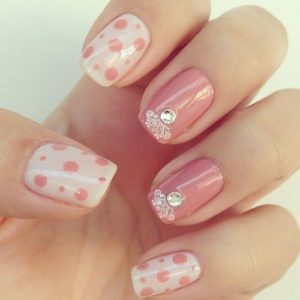 nude pink with white nails