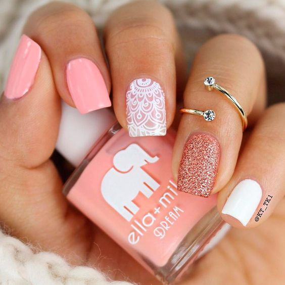 35 Pink And White Nails And Designs