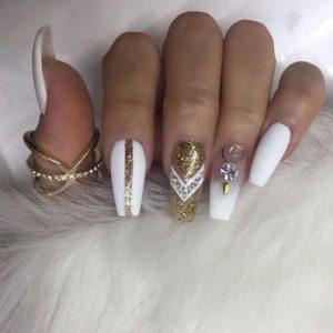golden diamond nails
