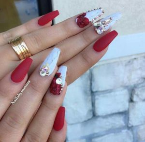 red and blue diamond nails