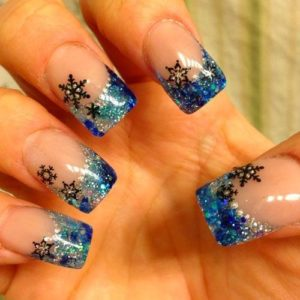 french tip snowflake nails