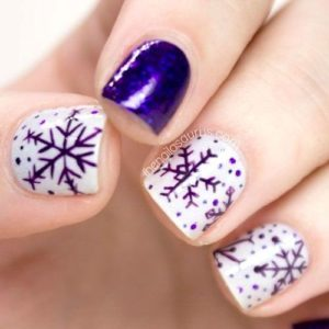 purple snowflake nails
