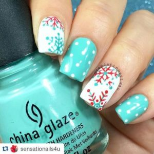 candy cane snowflake nails