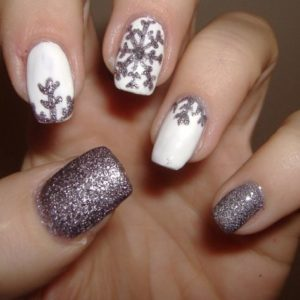 lavender snowflake nails