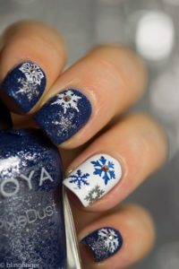 blue glitter snowflake nails