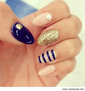 navy striped nails