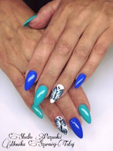 blue butterfly nails