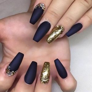 navy and gold nails
