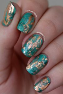 turquoise and gold nails