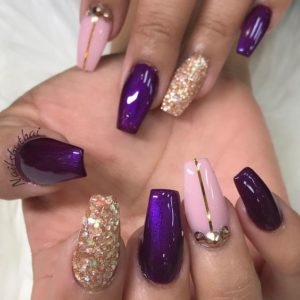 gold and purple manicure