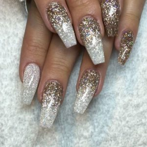 shimmery gold and silver nails