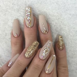 gold and crystal manicure