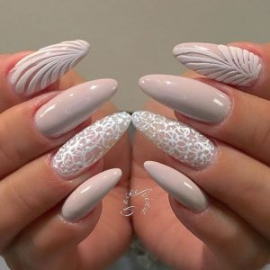 white and nude manicure