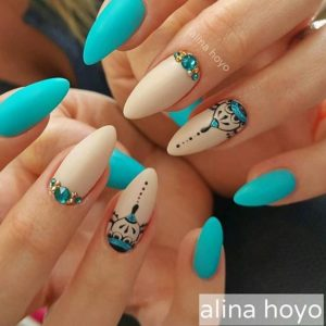 turquoise and nude nails