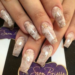 beige marble manicure