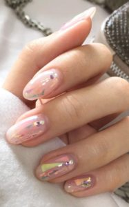 pink and nude nail design idea
