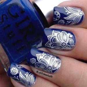 blue silver nails