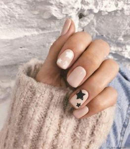 nude nail color and stars