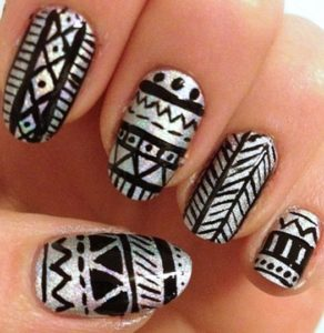 Holographic Aztec Printed Nails