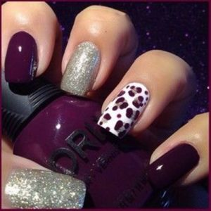 Burgundy and Glitter Polishes with Animal Print