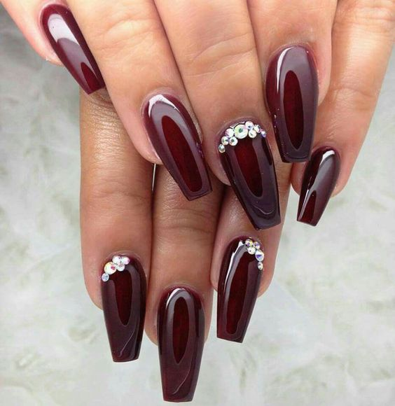 20High Shine Burgundy Nails with Silver Diamontes