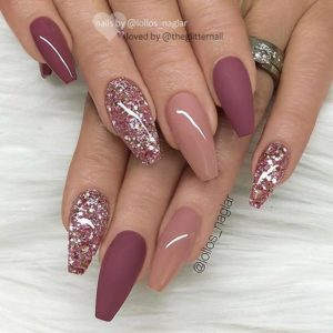 gold nude burgundy nails
