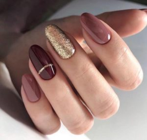 gold taupe burgundy nails