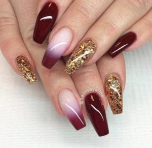 ombre burgundy and gold