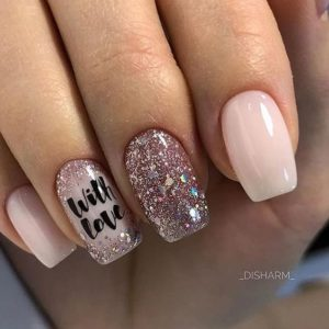 with love pink glitter nails