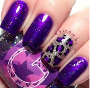 Purple Nail Design with Leopard Print