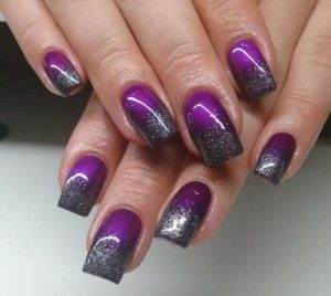 Purple Nails with Black Glitter Tips