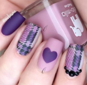 MAtte Nails with Tartan and Heart Motif