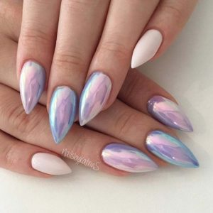 Iridescent Pink and Purple Nails
