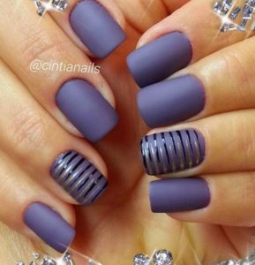 Deep Purple Nails with Stripes