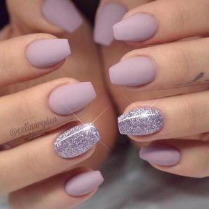 Matte Lavender Nail with Statement Silver Nail