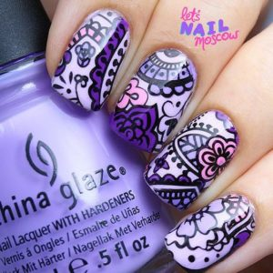 Paisley and Floral Nail Design