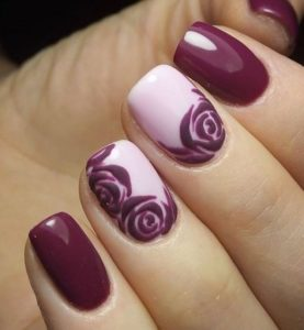 Purple Nail Design with Roses