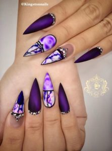 Matte, Marble, and Bling Purple Nails