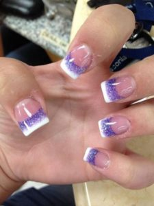 French Manicure with a Purple Twist