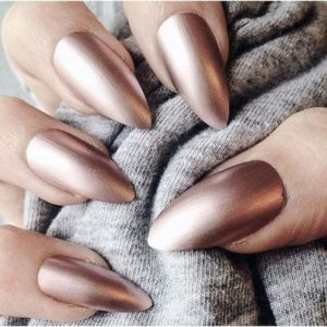 Almon shaped nails in copper color