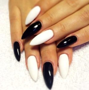 alternating black and white nail designs
