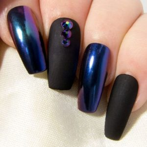 Long matte black and chrome blue nail look