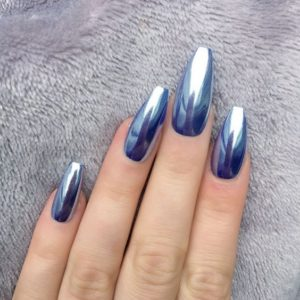 blue holographic coffin-shaped nails