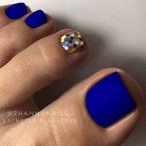 blue matte toe nails with shimmer